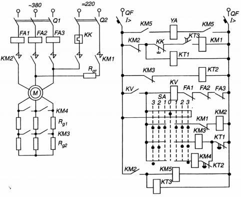 Схема обеспечивает пуск АД в... Схема управления асинхронным двигателем с фазным ротором.