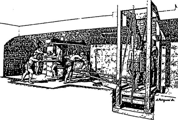 Лифт в древнем Риме, подъем гладиаторов